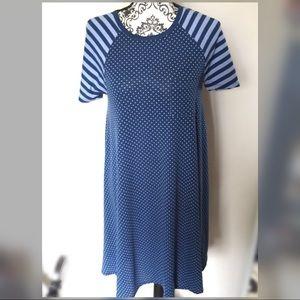 LuLaRoe Carly Stripe Polka Dots Dress Top